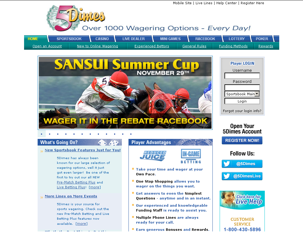 5dimes sportsbook casino poker racebook and lotto